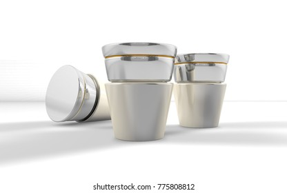 3D rendering of white glass cosmetic bottle with silver cap