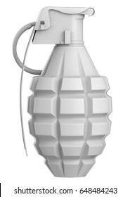 3D rendering White hand grenade bomb. MK2 Explosion weapon mock up
