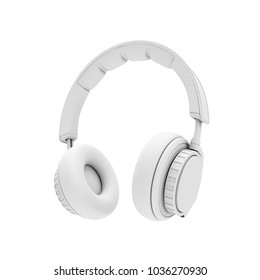 3D Rendering White headphones isolated on white background