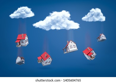 3d rendering of white houses with red roofs falling out of white clouds on blue background. Digital art. Concept ideas. Objects and materials.