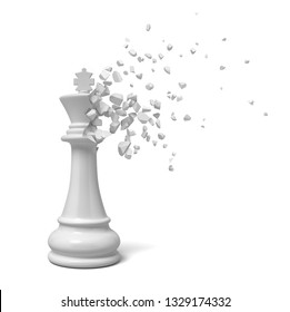3d rendering of white king chesspiece starting to dissolve into pieces on white background. Checkmate. Be completely defeated. Lose authoritative role.