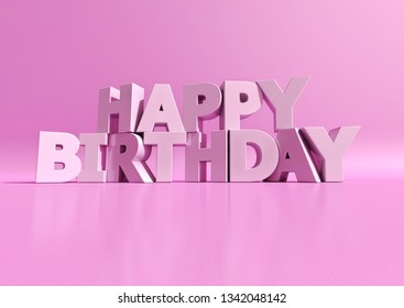 3D rendering of white letters forming the words Happy Birthday on a purple pink background