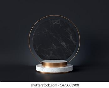 黒い背景に白い大理石の台座、丸い金枠、メモリアルボード、シリンダステップ、抽象的な最小コンセプト、空白スペース、クリーンデザイン、高級ミニマリストのモックアップ