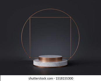 3d rendering of white marble pedestal isolated on black background, gold square frame, ring, cylinder steps, abstract minimal concept, blank space, simple clean design, luxury minimalist mockup
