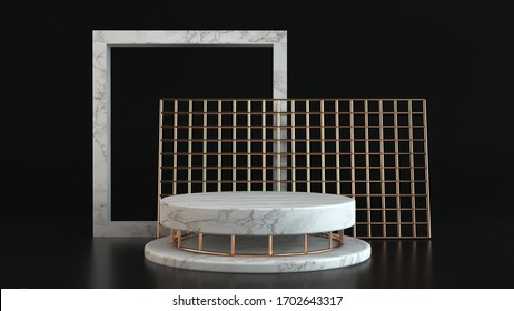 3d rendering of white marble pedestal isolated on black background, round gold frame, memorial board, cylinder steps, abstract minimal concept, blank space, clean design, luxury minimalist mockup