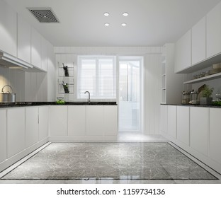 3d rendering white minimal kitchen with modern decor style