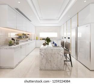 3d rendering white minimal kitchen with luxury decoration