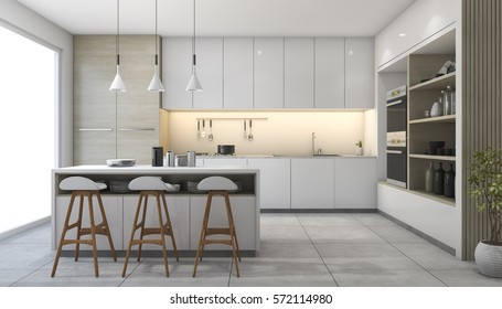 3d rendering white modern design kitchen with lamp