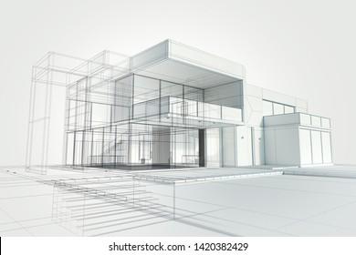 3D-Darstellung eines modernen, weißen Hauses mit Tiefziehlinien