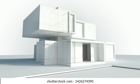 3D rendering of a white modern house rendering with draft lines