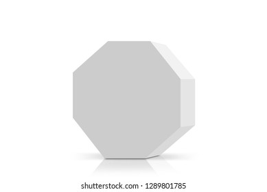 3D rendering of white octagon carton isolated on white background