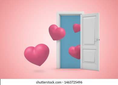 3d rendering of a white open doorway with small pink hearts on light pink background. Digital art. Heaven doorway. Feelings and emotions.