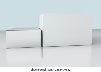 3d rendering, white packing boxes with white background, computer digital image