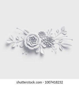 3d rendering, white paper flowers background, isolated botanical clip art, bridal bouquet, wedding wall decoration, floral border