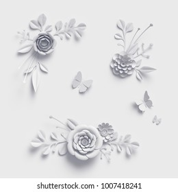 3d rendering, white paper flowers, isolated design elements, botanical clip art set, bridal bouquet, lace wedding wall decoration, floral arrangement
