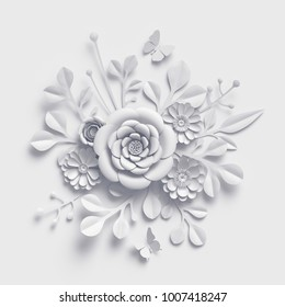 3d rendering, white paper flowers background, isolated botanical clip art, round bridal bouquet, wedding wall decoration, round floral arrangement