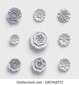 3d rendering, white paper flowers, isolated design elements, botanical clip art set, bridal bouquet, papercraft wedding wall decoration, floral arrangement