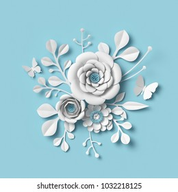 3d rendering, white paper flowers on blue background, isolated botanical clip art, round bridal bouquet, wedding wall decoration, floral design