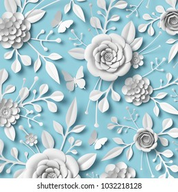 3d rendering, white paper flowers on blue background, botanical ornament, bridal design, wedding wall decoration, floral pattern