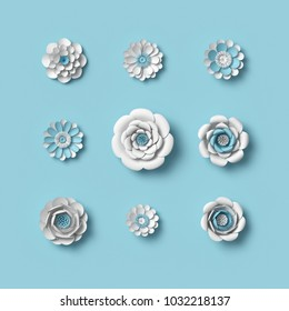3d rendering, white paper flowers on blue background, isolated floral design elements, botanical clip art set, bridal bouquet, papercraft wedding wall decoration