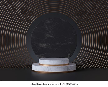 3d rendering of white pedestal steps isolated on black, round marble background, memorial board, art deco geometric frame, abstract minimal concept, blank space, clean design, minimal fashion mockup