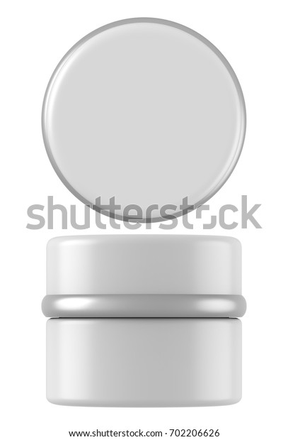 3D rendering white plastic cosmetic jar for cream, butter, scrub, gel, powder, wax. Realistic packaging mock up template
