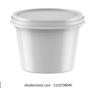 3D rendering White plastic tub bucket container for dessert, yogurt, ice cream, sour cream, snack, butter, margarine or cheese, Mock Up Template