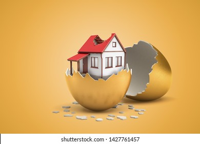 3d rendering of white private house with broken roof hatching out of golden egg on yellow background. Building and exteriour. Business and finance. Banking and currency.
