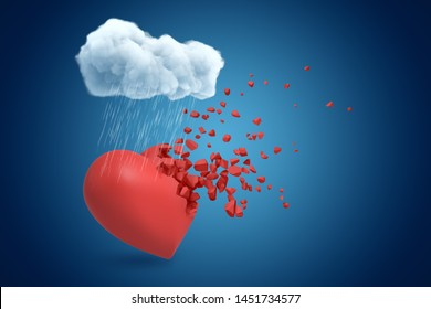 3d rendering of white rainy cloud above red heart shattering into small pieces on blue background. Digital art. Feelings and emotions. Relationship problems.