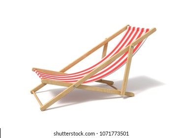 3d rendering of a white red deckchair isolated on a white background. Getting tanned. Beach furniture. Resting at sea resort.