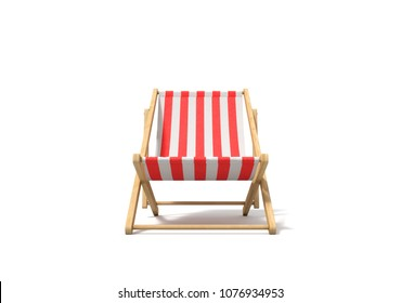 3d rendering of a white red deckchair in front view isolated on a white background. Getting tanned. Beach furniture. Resting at sea resort.