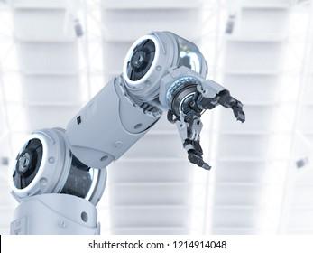 3D-Rendering mit weißem Roboterarm auf weißem Hintergrund