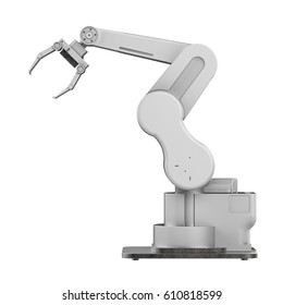 3d rendering white robotic arm isolated on white