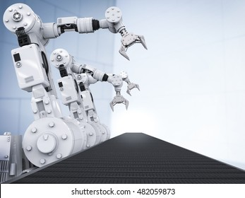 3d rendering white robotic arms with empty conveyor belt