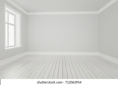 3d rendering of White Room with Hardwood Flooring and Window Detail