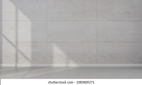 3D rendering of white room interior and concrete floor with sun light cast the shadow on the travertine tile wall,Perspective of minimal design architecture.