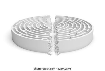 3d rendering of a white round maze with its walls broken by a straight line of rumble dividing the maze in half. Mazes and labyrinths. Problems and solutions. Unconventional approaches.