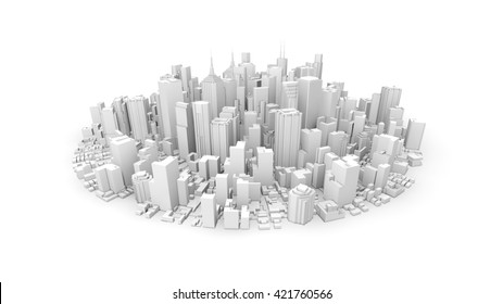 3d rendering of white rounded city