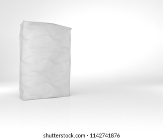 3d rendering of a white sack of cement on background