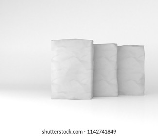 3d rendering of a white sacks of cement on background