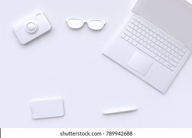 3d rendering white scene abstract laptop camera glasses pen smart phone blank space technology concept