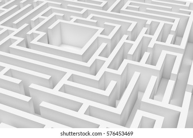 3d rendering of a white square maze in close up view on white background. Mazes and labyrinths. Secrets and puzzles. Problems and solutions.