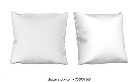 3D rendering White square pillow Mock up on white background