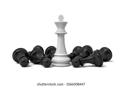 3d rendering of a white standing king chess piece surrounded by fallen pawns. Board games. Chess pieces by importance. Win over weaker opponent.