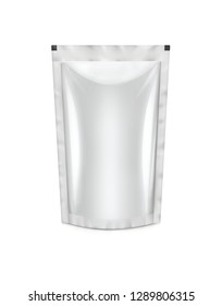 3D rendering of white stand-up pouch on white background