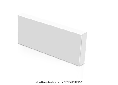 3D rendering of white thin box carton isolated on white background