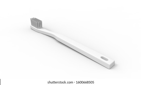 3d rendering of a white tootbrush isolated in a clean studio background