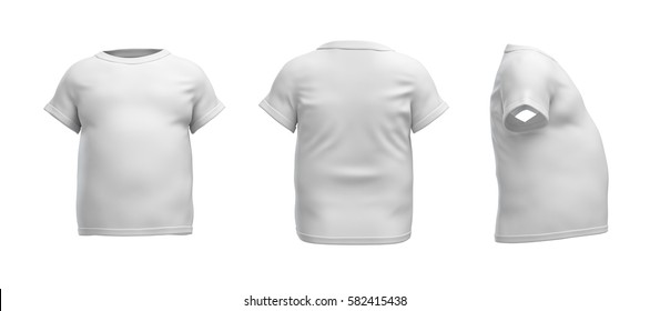 3d rendering of a white T-shirt in realistic fat shape in side, front and back view on white background. Closes and apparel. Sport and dieting. Sales and promotions.