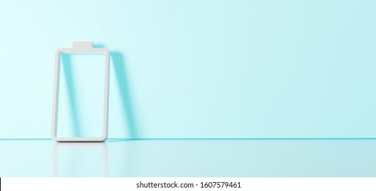 3D rendering of white vertical symbol of empty battery  icon leaning on on color wall with floor blurred reflection with empty space on right side