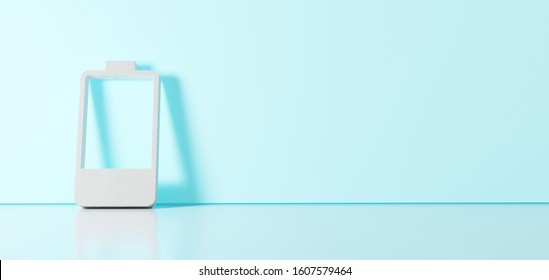 3D rendering of white vertical symbol of one fourth charged battery with one piece icon leaning on on color wall with floor blurred reflection with empty space on right side